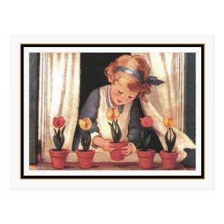Vintage Girl and Windowbox by Jessie Willcox Smith Postcard
