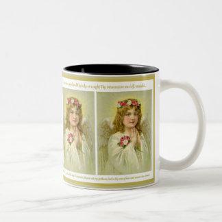 Vintage  Girl Angel with roses Memorare Prayer Two-Tone Coffee Mug