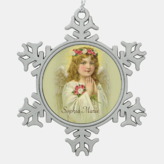 Vintage  Girl Angel with roses Snowflake Pewter Christmas Ornament