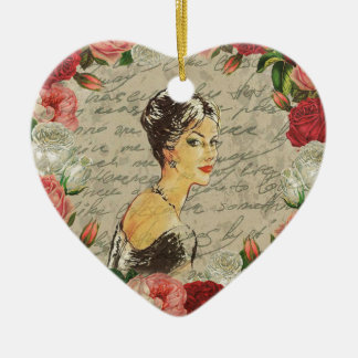Vintage girl ceramic ornament