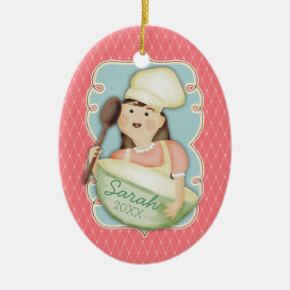Vintage girl chef mixing bowl Christmas ornament