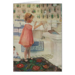 Vintage Girl, Child Doing Laundry Hanging Clothes Card