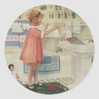 Vintage Girl, Child Doing Laundry Hanging Clothes Round Sticker