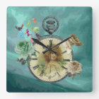 Vintage Girl Clock Watch Square Wall Clock