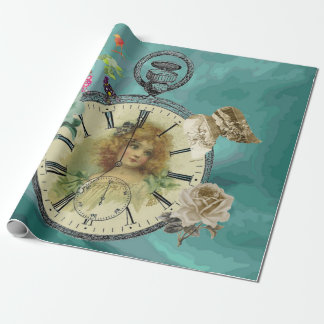 Vintage Girl Clock Watch Wrapping Paper