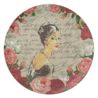 Vintage girl dinner plate