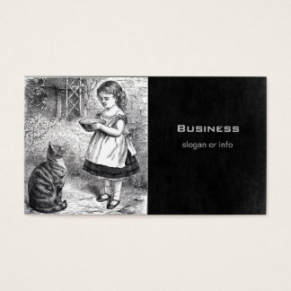 Vintage Girl Feeding Cat a Saucer of Milk Business Card