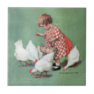 Vintage Girl Feeding Hens by Jessie Willcox Smith Tile