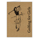 Vintage Girl Golfer on Faux Burlap Decorative Card