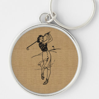Vintage Girl Golfer on Faux Burlap Decorative Silver-Colored Round Keychain