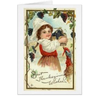 Vintage Girl/Grapes Thanksgiving Greeting Greeting Card