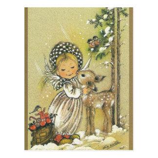 Vintage Girl Hugging Baby Deer Postcard