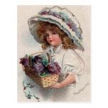 Vintage Girl in Bonnet Postcard