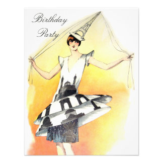 Vintage Girl in Eiffel Tower Costume Birthday Announcements