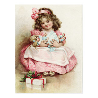 Vintage Girl in Pink Dress with Doll Postcard