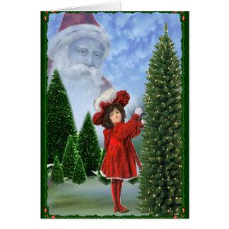 Vintage Girl in Red Dreams of Santa Holiday Card
