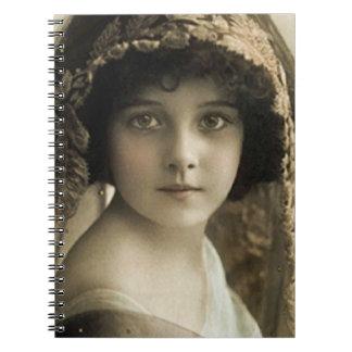 vintage girl journal spiral notebook
