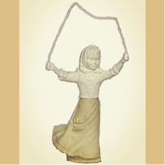 Vintage Girl Jump Roping Standing Photo Sculpture