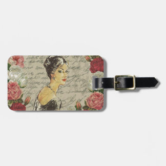Vintage girl luggage tag