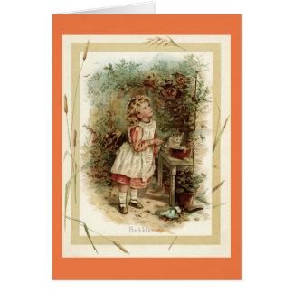 Vintage Girl Making Bubbles Card