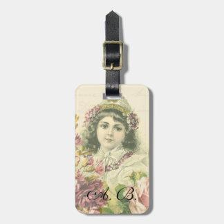 Vintage girl monogram luggage tag w/ flowers