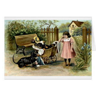 Vintage - Girl & Naughty Dachshunds, Card