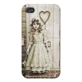 Vintage Girl neat a Retro Cottage Case For iPhone 4