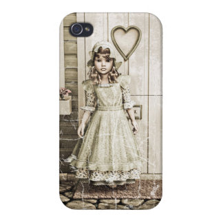 Vintage Girl neat a Retro Cottage iPhone 4 Cases