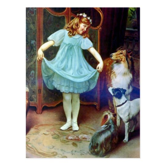 Vintage Girl New Dress Collie pet dogs Postcard