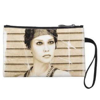 Vintage Girl, Old Photo Effect Wristlet Clutches