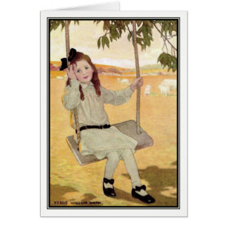 Vintage Girl on Swing by Jessie Willcox Smith Card