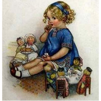 Vintage Girl Playing with Dolls Photo Cut Outs