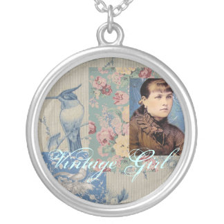 Vintage Girl Portrait Silver Plated Necklace