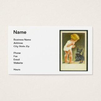 Vintage Girl & Scottish Terrier Business Card
