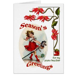 Vintage Girl Seasons Greetings for Piano Teacher Cards