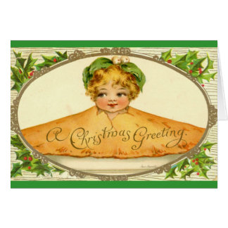 Vintage girl surprise pop up in Christmas pie Card