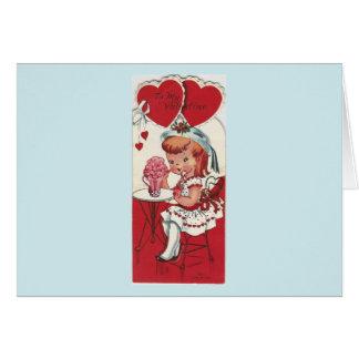 Vintage Girl With A Milkshake Valentine Card