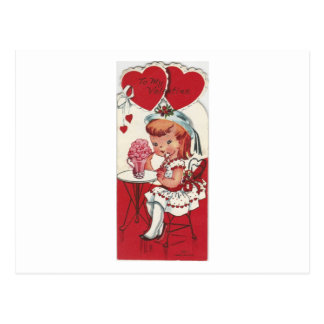 Vintage Girl With A Milkshake Valentine Postcard