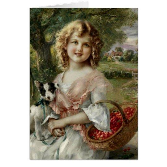 Vintage Girl with Basket of Cherries, Card