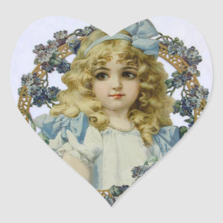 Vintage Girl with Beautiful Flowers and Bow Heart Sticker