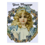 Vintage Girl with Beautiful Flowers and Bow Postcards