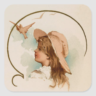 Vintage Girl With Birds Square Sticker