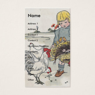 Vintage Girl with Chickens Business Card