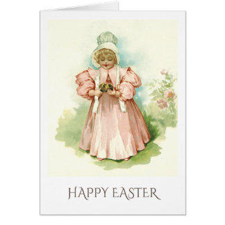 Vintage Girl with Chickens. Easter Greeting Cards