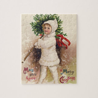 Vintage Girl with Christmas Tree, Ellen Clapsaddle Jigsaw Puzzle
