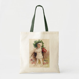 Vintage Girl with Christmas Tree, Ellen Clapsaddle Tote Bag
