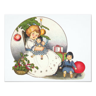 Vintage Girl with Doll Christmas Party Invitation