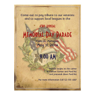 Vintage Girl with Flags Memorial Day Custom Flyer