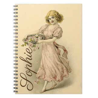 Vintage Girl with Flowers Notebook