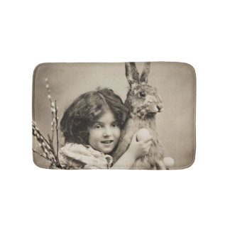 Vintage girl with giant Easter bunny Bath Mat